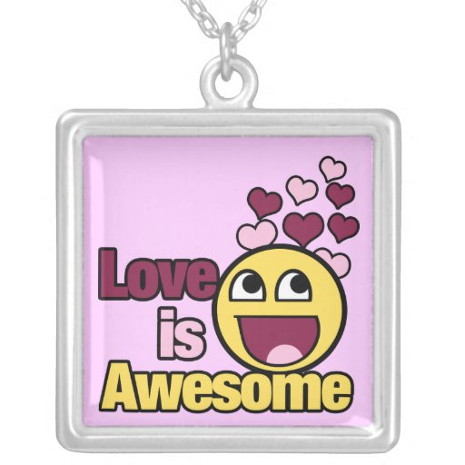 Love is Awesome Square Pendant Necklace