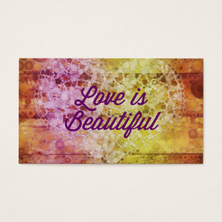 Love is Beautiful Abstract Colorful Heart Business Card