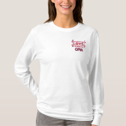 Women's Embroidered Long Sleeve T-Shirt with Embroidered Grandma Gifts design