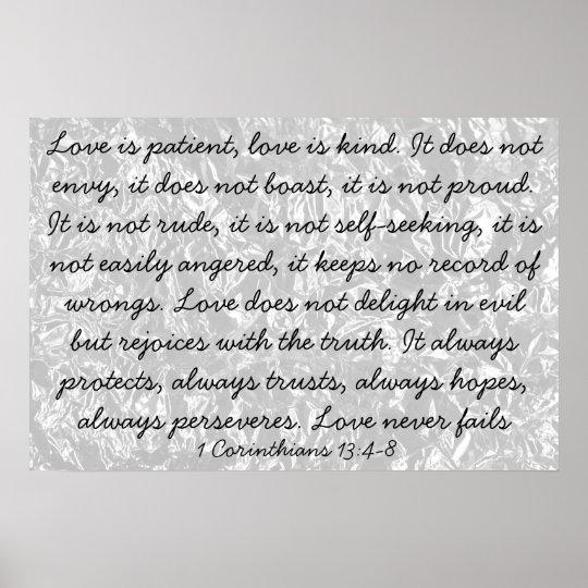 Love Is Bible Verse 1 Corinthians 13:4-8 Poster