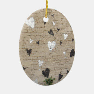 Love Is Black And White Double-Sided Oval Ceramic Christmas Ornament