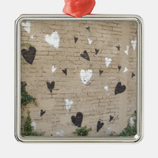 Love Is Black And White Square Metal Christmas Ornament
