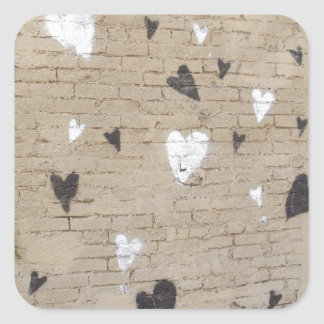 Love Is Black And White Square Stickers