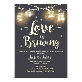 Love is brewing bbq rehearsal bridal shower card