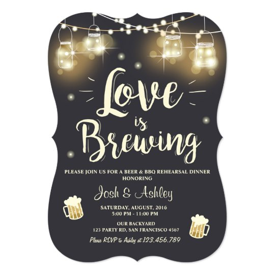 Love Is Brewing Bbq Rehearsal Dinner Invitation