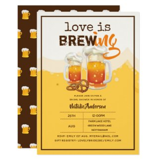 Love Is Brewing BEER Bridal Couples Shower Modern Invitation