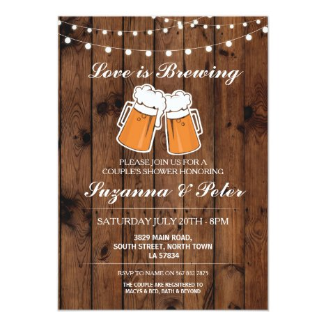 Love is Brewing Beers Wood Couple's Showers Invite