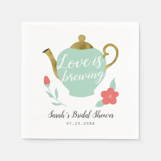 Love is Brewing Bridal Shower Napkins