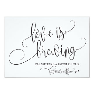 Love Is Brewing Coffee Bar Wedding Sign Card