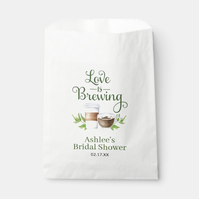 Love is Brewing Coffee Bean Treat Favor Favor Bag