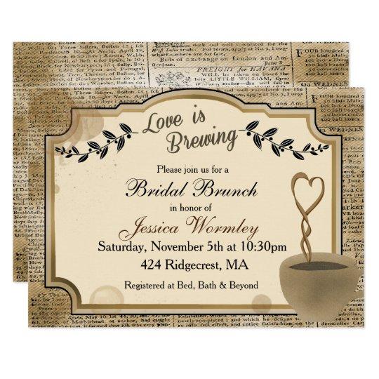 102b2c30fca9 Love is Brewing Coffee Bridal Shower Invitation