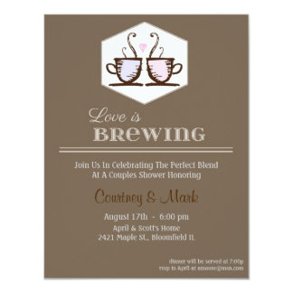 Love is brewing 4.25x5.5 paper invitation card