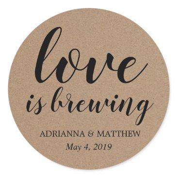 wedding_trends_now Love Is Brewing Rustic Kraft Paper Wedding Favor Classic Round Sticker