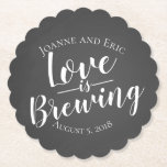 "love is brewing wedding pub custom coaster<br><div class=""desc"">Create your own thank you coaster</div>"