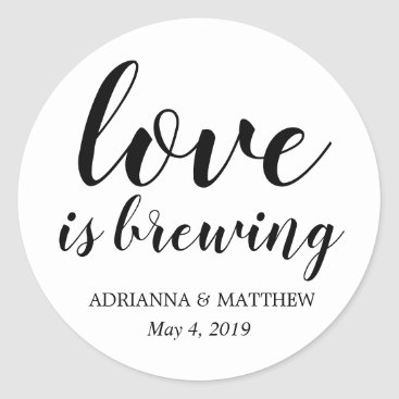wedding_trends_now Love Is Brewing Whimsical Wedding Favor Classic Round Sticker
