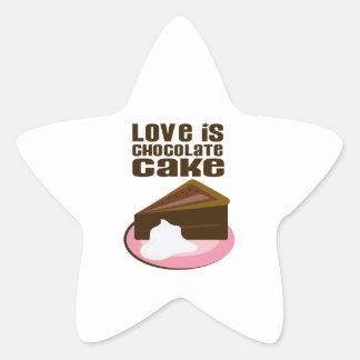 Love Is Chocolate Cake Star Sticker