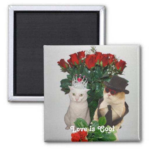 Love is Cool 2 Inch Square Magnet