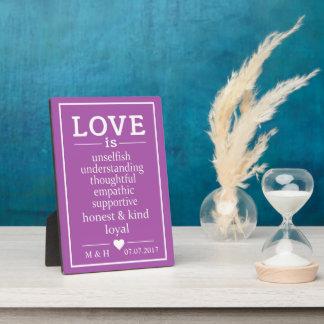 Love Is … custom monograms, date & color plaque