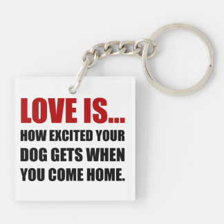Love Is Dog Excited Come Home Keychain