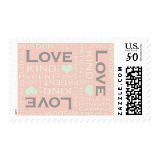 Love is Everything, Modern Typography Art, Peach Postage