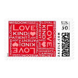 Love is Everything, Modern Typography Art, Red Postage