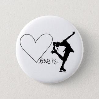 Love is Figure Skating, Girl Skater & Heart Button