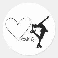 Love is Figure Skating, Girl Skater & Heart Classic Round Sticker