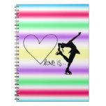 Love is Figure Skating, Girl Skater, Heart ,Colors Notebook