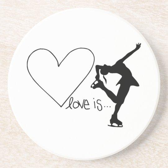 Love is Figure Skating, Girl Skater & Heart Drink Coaster
