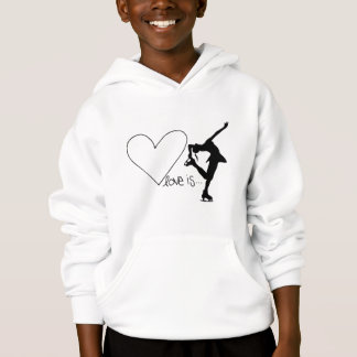 Love is Figure Skating, Girl Skater & Heart Hoodie