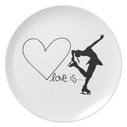 Love is Figure Skating, Girl Skater & Heart Plates