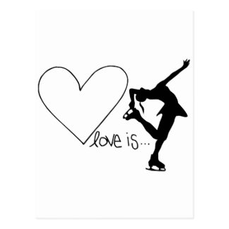 Love is Figure Skating, Girl Skater & Heart Postcard