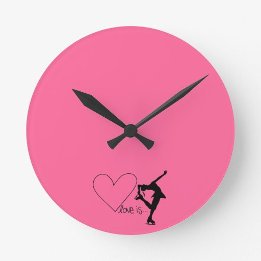 Love is Figure Skating, Girl Skater & Heart Round Wall Clocks