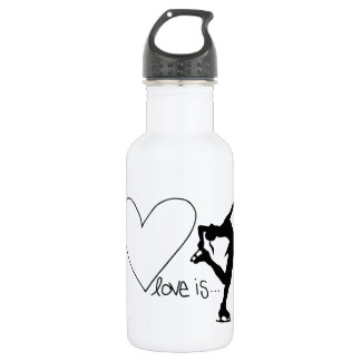 Love is Figure Skating, Girl Skater & Heart Stainless Steel Water Bottle