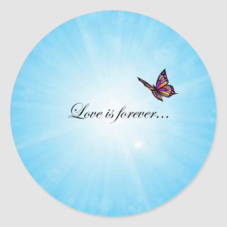 Love is Forever Butterfly Classic Round Sticker