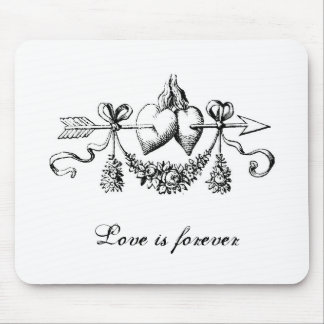 Love Is Forever Hearts Arrow Valentine Ornate Mouse Pad