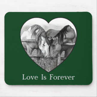 LOVE IS FOREVER: HORSES IN PENCIL: HEART MOUSEPAD