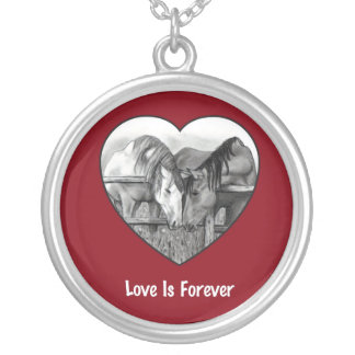 LOVE IS FOREVER: Horses in Pencil: HEART Necklace