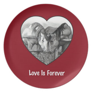 Love Is Forever: Horses in Pencil: Heart, Red Party Plates