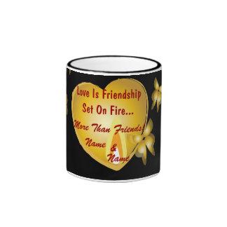 Love Is Friendship Set On Fire Mug-Customize Ringer Coffee Mug