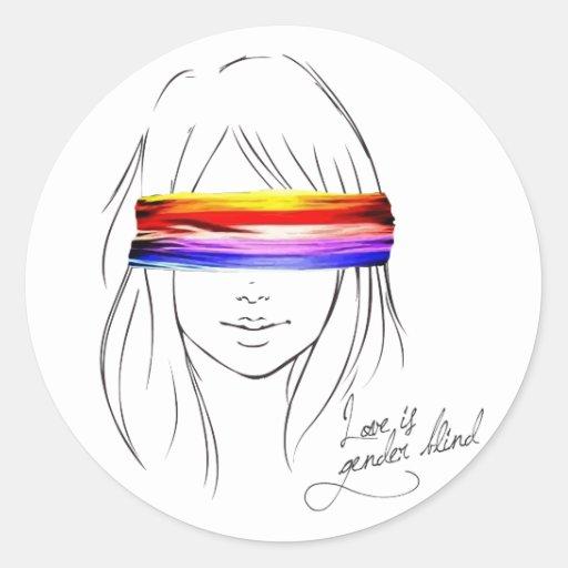 Love Is Gender Blind Round Stickers