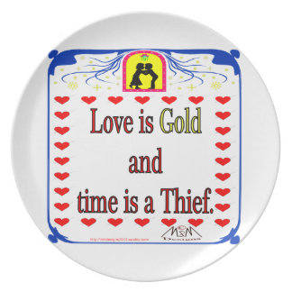 Love is gold melamine plate