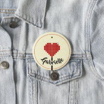 """Love is here"" custom name Chic button"