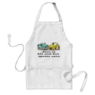 Love is His and Her Sports Cars Adult Apron