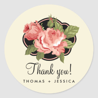 Love is in Bloom Ivory Rose Thank You Stickers