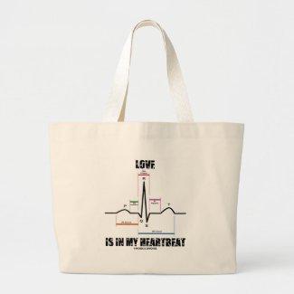 Love Is In My Heartbeat ECG EKG Electrocardiogram Tote Bag