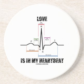 Love Is In My Heartbeat ECG EKG Electrocardiogram Drink Coaster
