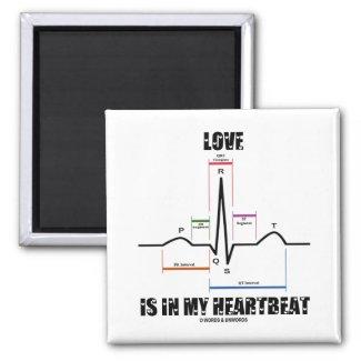 Love Is In My Heartbeat ECG EKG Electrocardiogram Magnet
