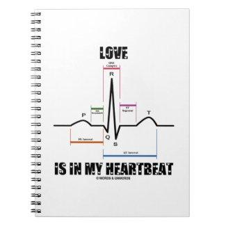 Love Is In My Heartbeat ECG EKG Electrocardiogram Spiral Note Books