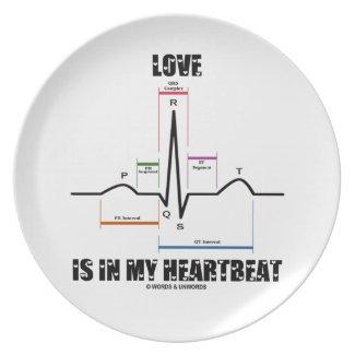 Love Is In My Heartbeat ECG EKG Electrocardiogram Plate